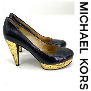 💕SALE💕 Michael Kors Black Leather Gold Heels